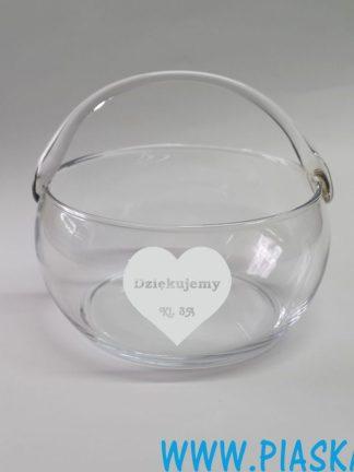 koszyczek szklany grawerowany