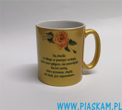 kubek złoty nadruk róża