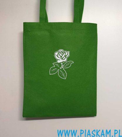 torba jasno zielona biała róża