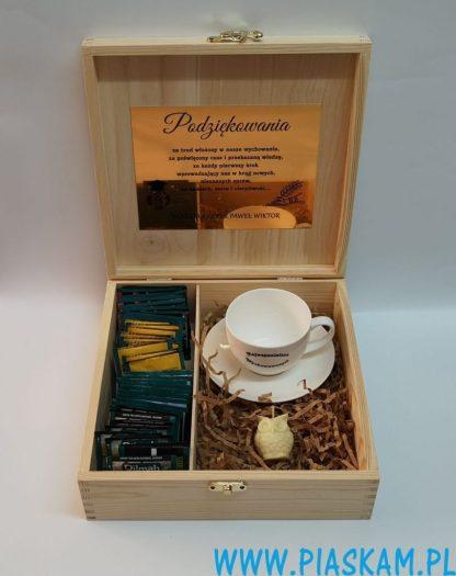 skrzynka na herbatki filizanka sowa