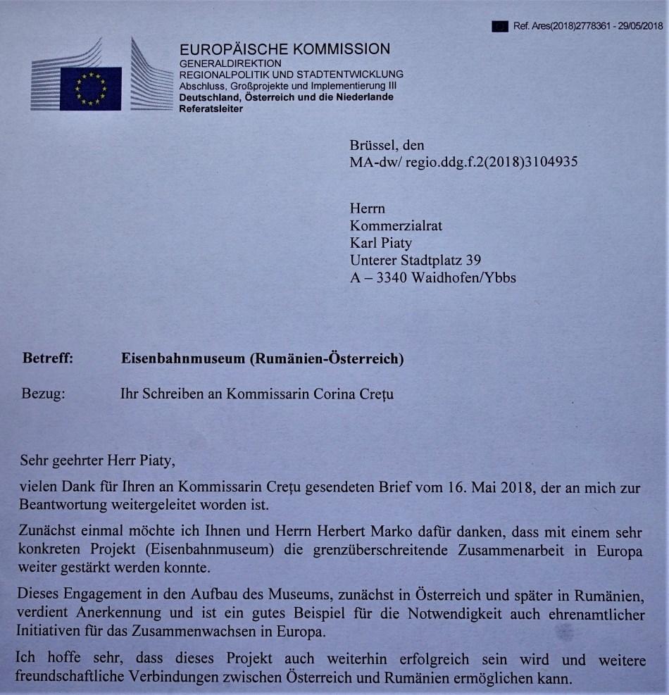 Rumänien Bahnhof Ybbsitz Europäiasche Kommission Generalddirektion
