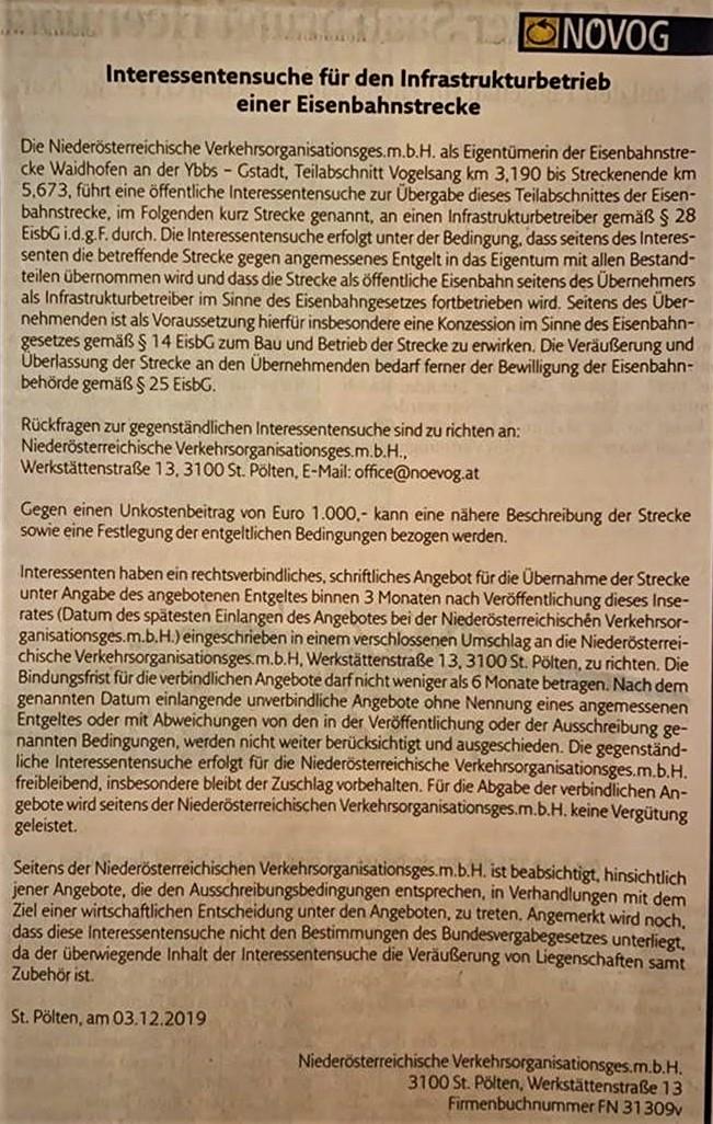 Citybahn Waidhofen - Ausschreibung Kurier