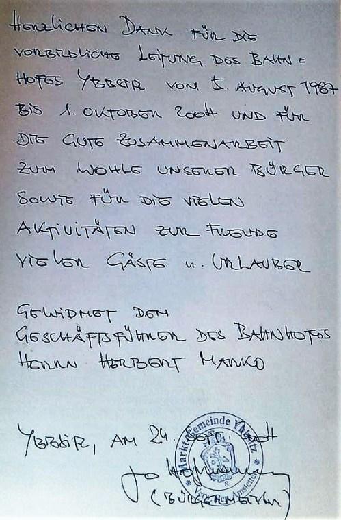 Bürgermeister Hofmarcher belobigt Herbert Marko