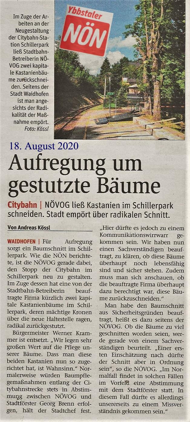 NÖN 19.8.2020 Bäume Schillerpark Logo