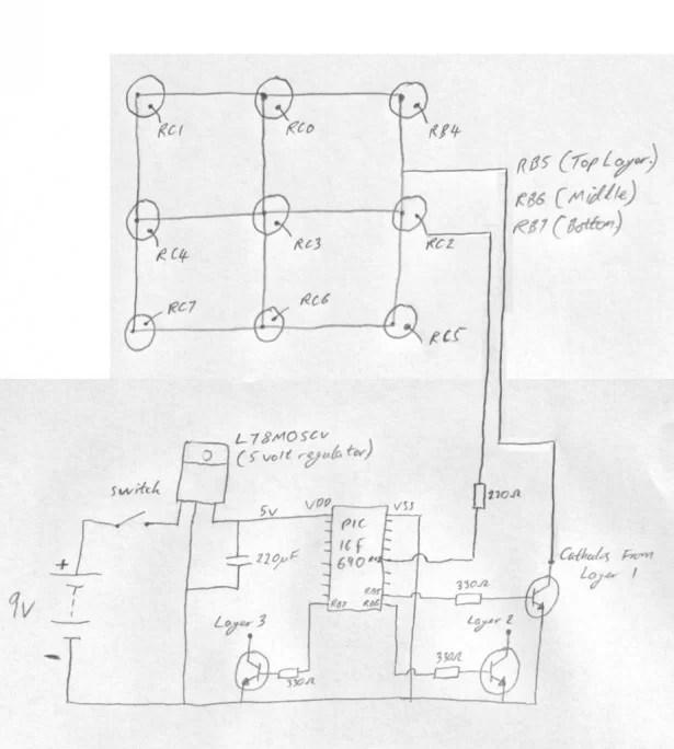 3x3x3 LED Cube using PIC16F690 microcontroller