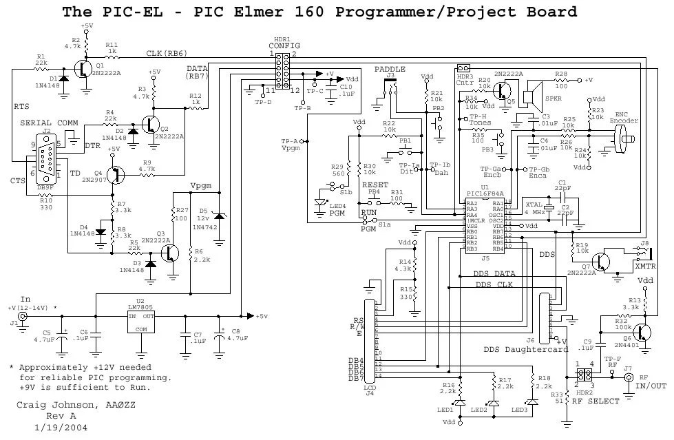 The PIC Elmer 160 Project Board using PIC16F628