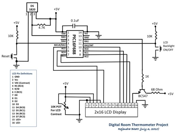 Digital Thermometer Using PIC16F688 microcontroller