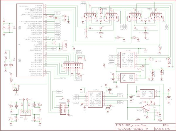 Photomultiplier Tube (PMT) Controller Circuit B using pic