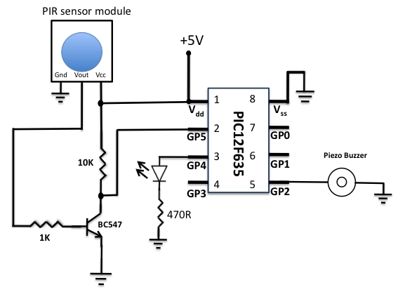 pir schematic motion detector