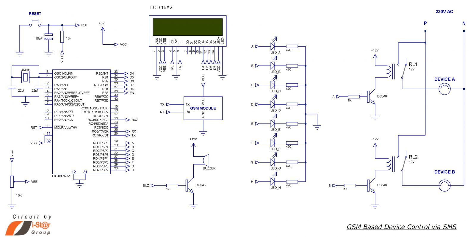 hight resolution of sms based device control using gsm modem schematic