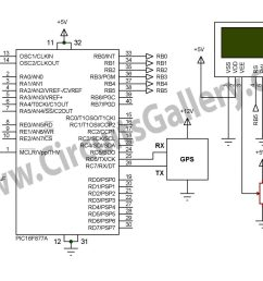 simple digital gps speedometer using pic16f877a with lcd display schematic [ 2089 x 1229 Pixel ]