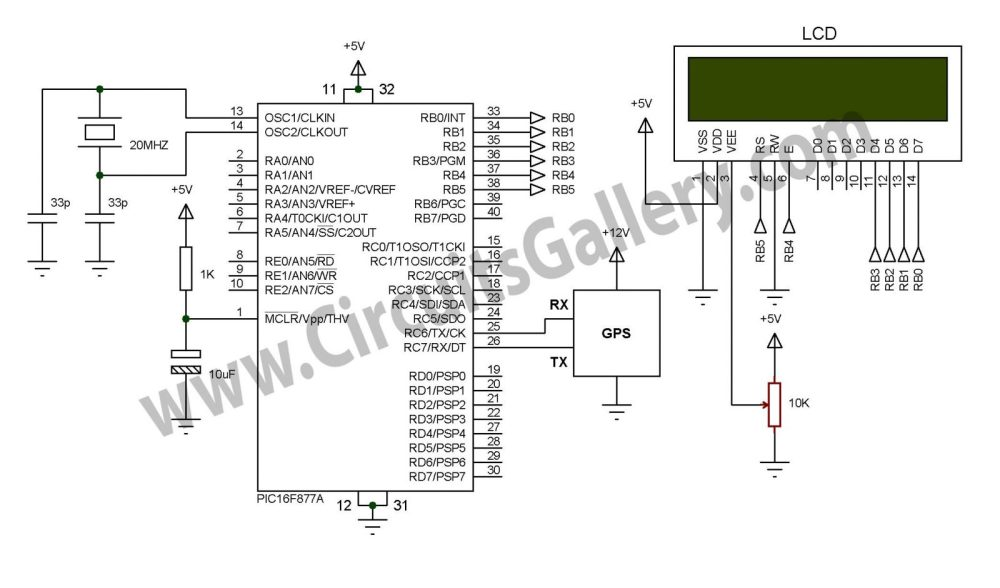medium resolution of simple digital gps speedometer using pic16f877a with lcd display schematic