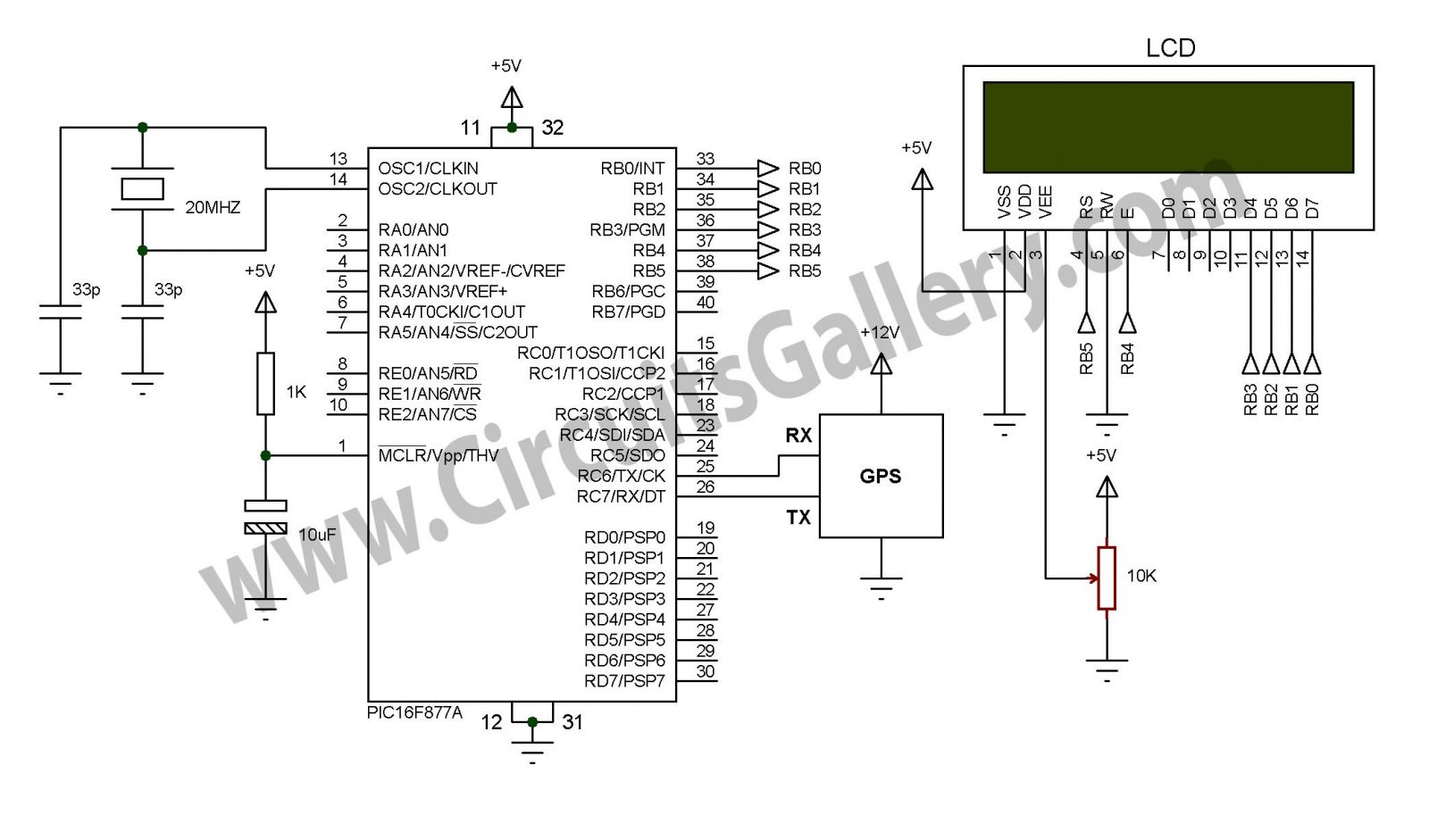 hight resolution of simple digital gps speedometer using pic16f877a with lcd display schematic