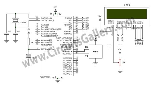small resolution of simple digital gps speedometer using pic16f877a with lcd display schematic