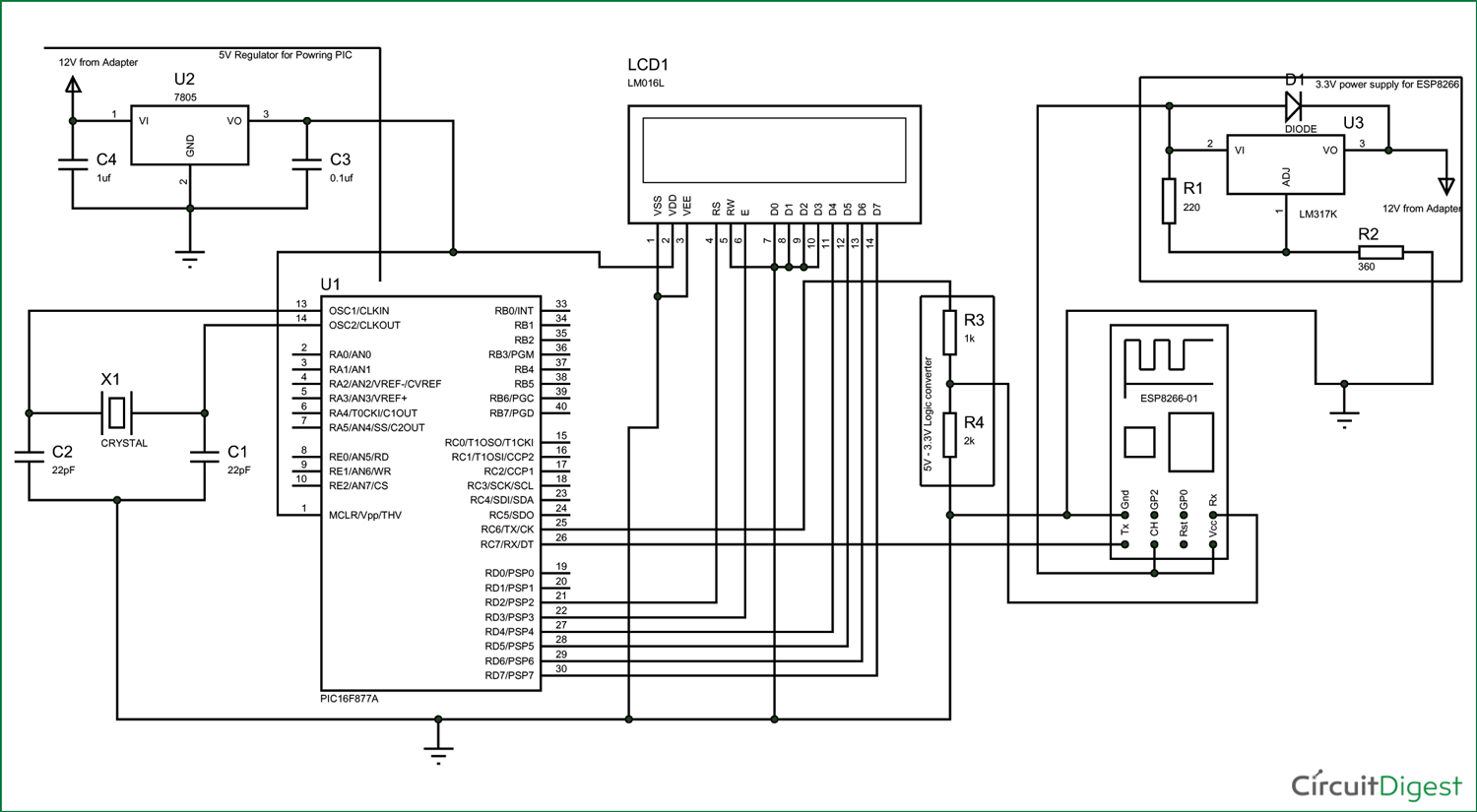 ic 7805 schematic and circuit