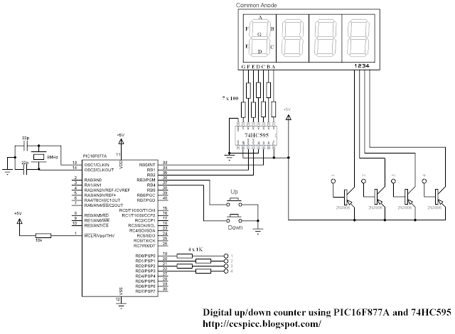4-Digit 7-Segment display with 74HC595 shift register