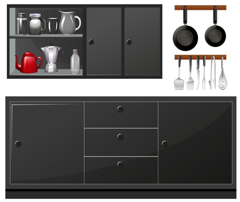 black kitchen appliances nija 矢量的厨房用具插图图片 黑色厨房家电矢量插图素材 高清图片 摄影照片 寻 黑色厨房家电矢量插图