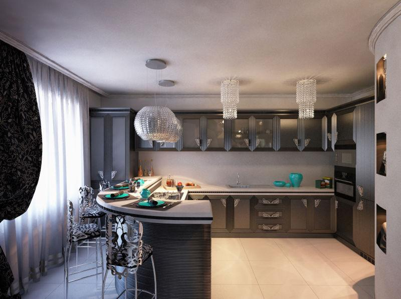 kitchen art decor bridal shower invitations 厨房图片 艺术装饰风格中的黑色厨房3d渲染素材 高清图片 摄影照片 寻图 艺术装饰风格中的黑色厨房3d渲染