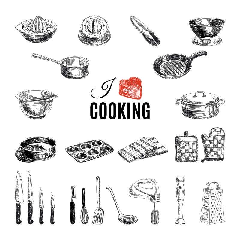 kitchen pots how to decorate counter space 矢量手绘厨房用具图片 矢量手绘厨房用具插图素材 高清图片 摄影照片 寻图 矢量手绘厨房用具插图