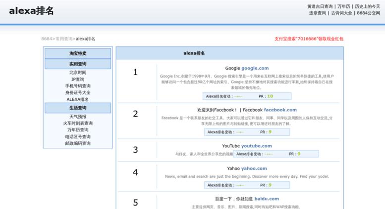 Access alexa.8684.cn. alexa排名_TOP200000