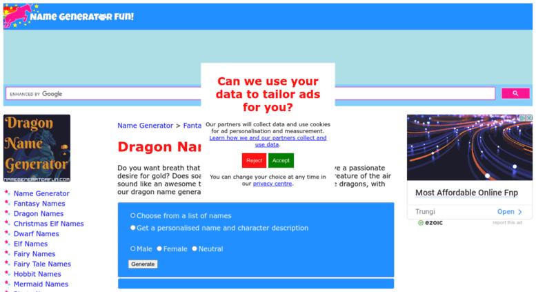 Access Dragon Namegeneratorfun Com Dragon Name Generator