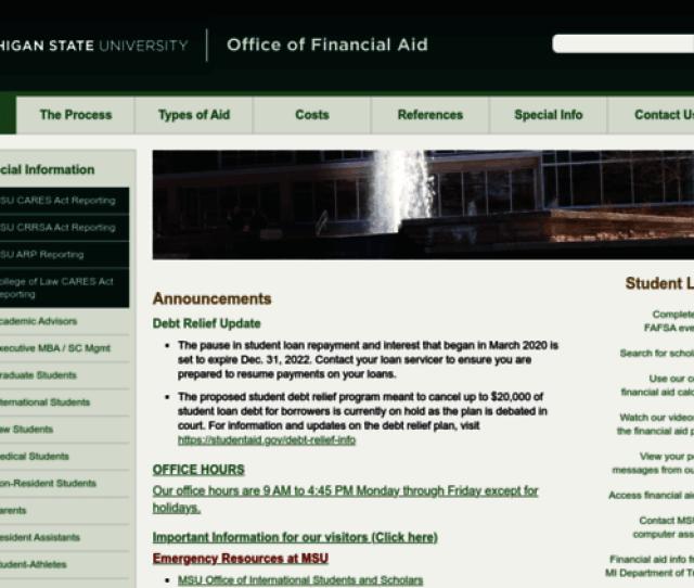 Finaid Msu Edu Screenshot