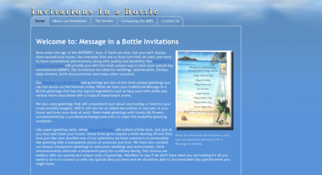 Access Invitationsinabottle Com Message In A Bottle