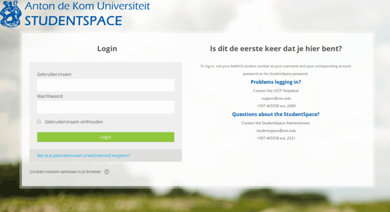 Access moodle.uvs.edu. AdeKUS - Student Space: Log in to the site