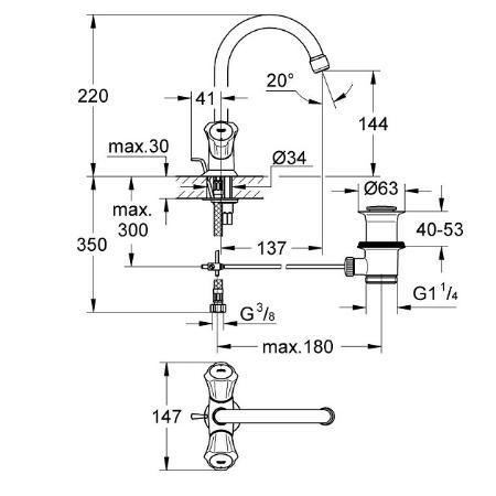 Grohe Costa WaschtischEinlochbatterie Rot 21375001 RO mit Garnitur