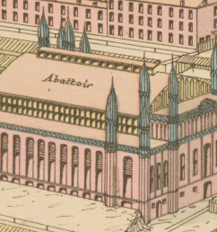 an isometric drawing of the abbatoir which is a handsome and ornate building  [ 1429 x 917 Pixel ]