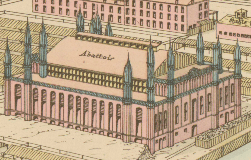 small resolution of an isometric drawing of the abbatoir which is a handsome and ornate building