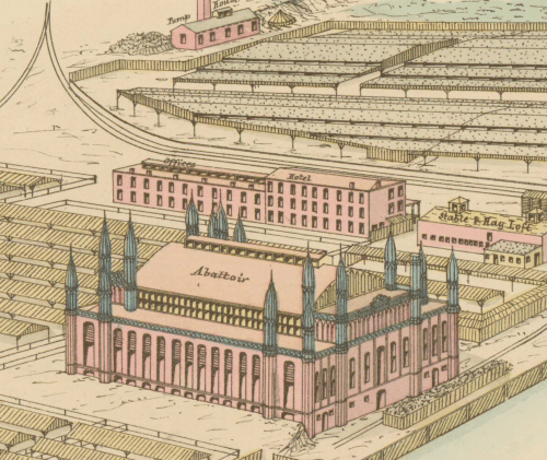 small resolution of an isometric drawing of the site of the office and hotel building with stable