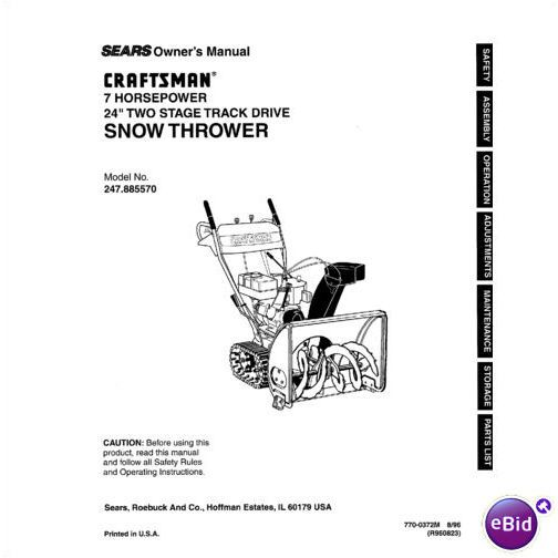 Sears Craftsman Snow Thrower Manual Model No 247.885570 on