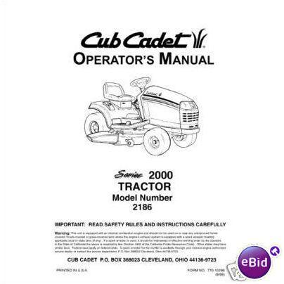 Cub Cadet Owners Manual Model No. 2186 on eBid United