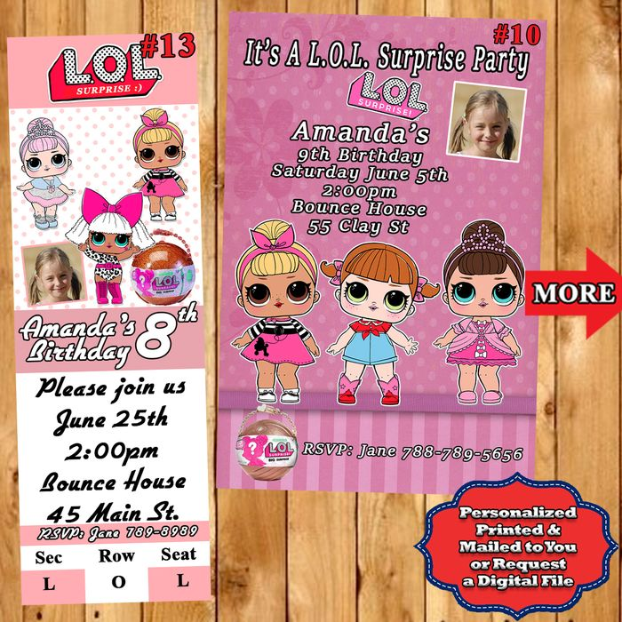 lol surprise birthday invitations 10 ea with env personalized custom made on ebid united states 165924259