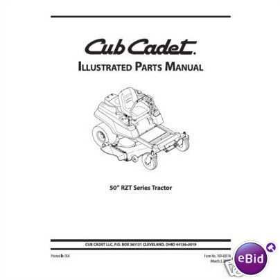 Cub Cadet Parts Manual Model No. RZT 50 on eBid United
