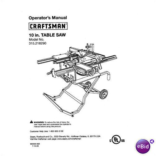 Sears Craftsman Table Saw Manual Model # 315.218290 on