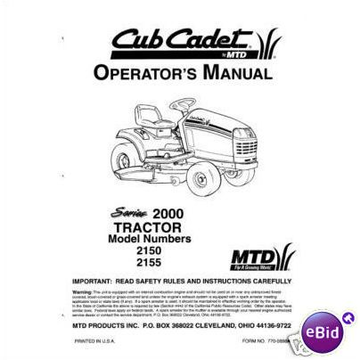 Cub Cadet Owners Manual Model No. 2150-2155 on eBid United