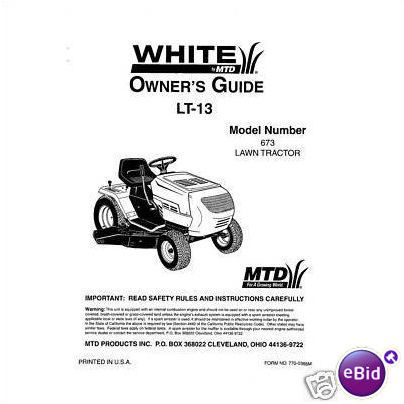 White LT-13 Lawn Tractor Owners Manual Model 673 on eBid