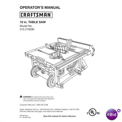 Sears Craftsman Table Saw Manual Model # 315.218280 on