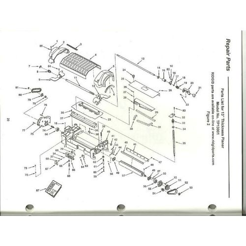 Owner's Manual for a Ridgid TP1300 13 Inch Thickness