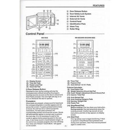 Owners Manual Panasonic Microwave Oven NN-7643, 6533, 6543