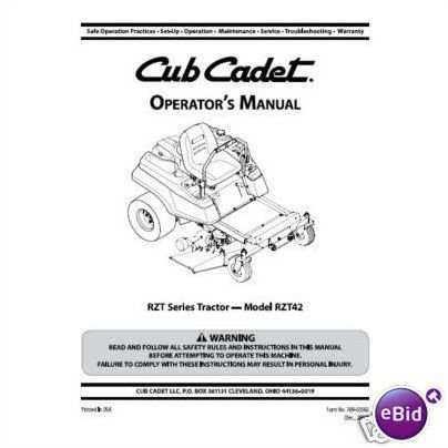 Cub Cadet Operators Manual Model No. RZT42 on eBid United