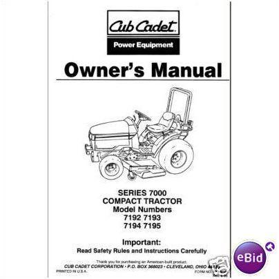 Cub Cadet Owners Manual Model # 7192-7193-7194-7195 on