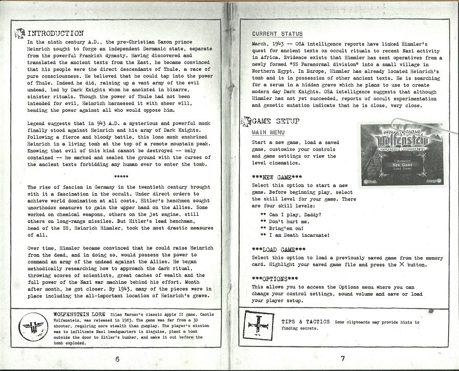 PS2 Game Manual Only Return to Castle Wolfenstein