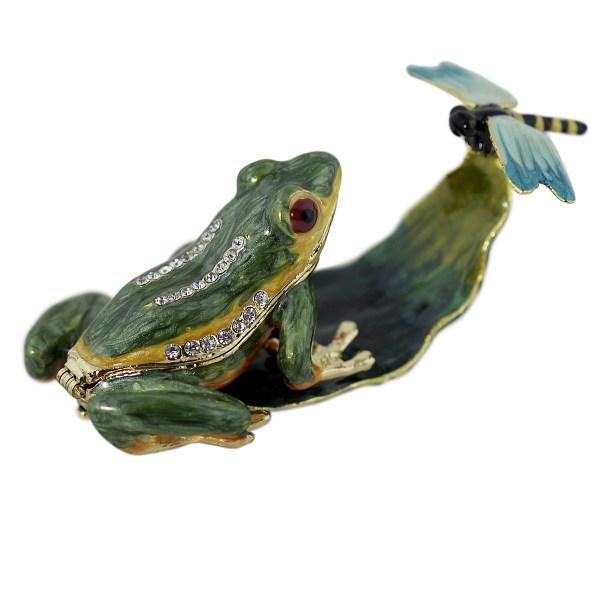 Frog And Dragonfly Trinket Box Keepsake Enameled Bejeweled