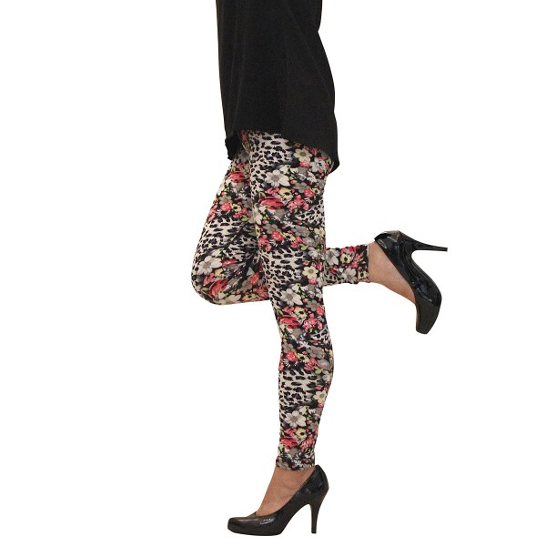 Snow Leopard And Roses Leggings Animal Print Mid Rise Soft