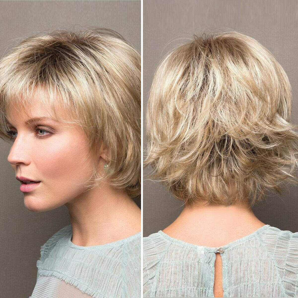 Gold Blonde Short Curly Women Ladies Daily Natural Hair Wig