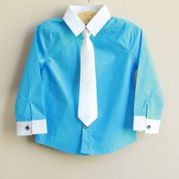 Toddler Kids Boys Solid Necktie Long Sleeve Dress Shirt ...