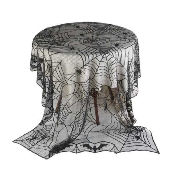 Halloween Black Lace Spiderweb Cloth Tablecloth Bat Spider Net Table Covers E32